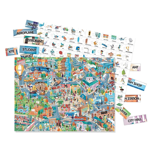 HEADU Learn City Vocabulary 100 Words Kids Children Educational Jigsaw Puzzle